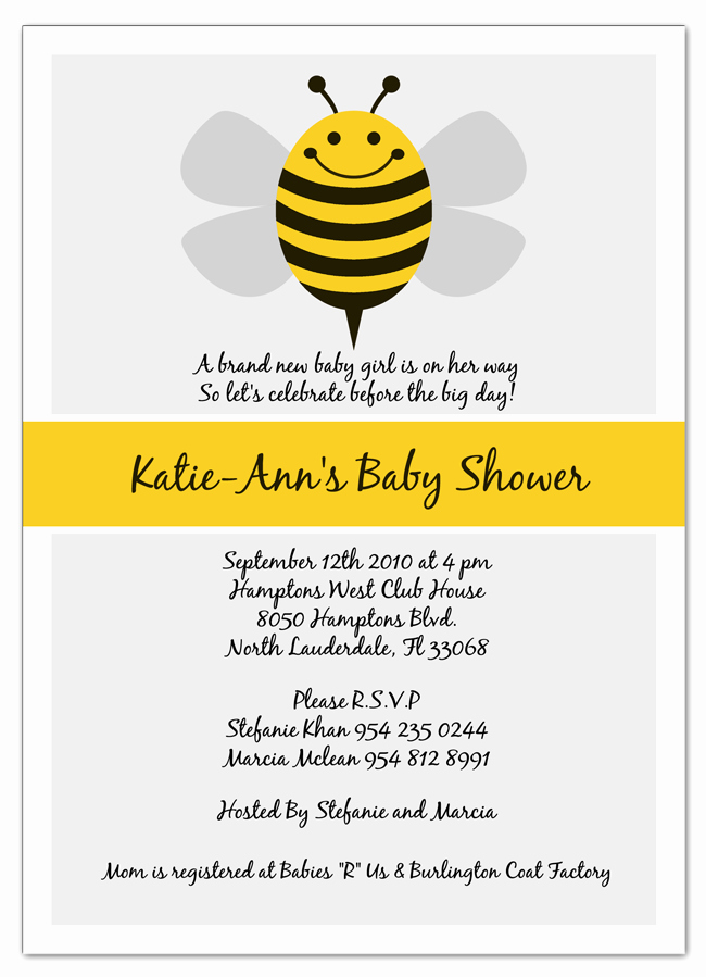 Free Bumble Bee Invitation Template New Bumble Bee Baby Shower Invitations Party Xyz
