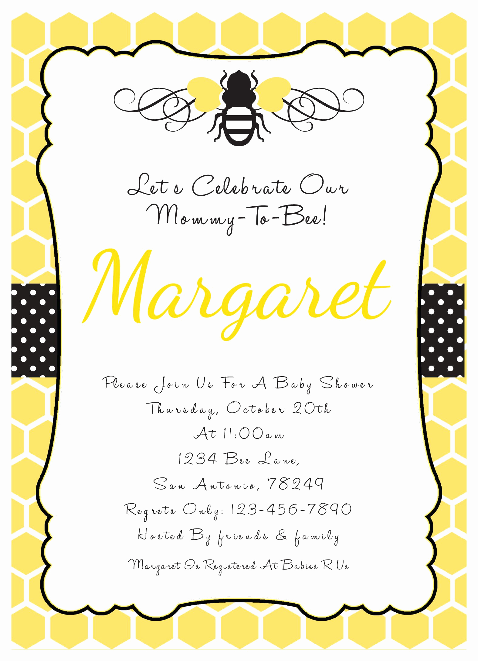 Free Bumble Bee Invitation Template New Bumble Bee Invitations Baby Shower Google Search