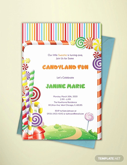 Free Candyland Invitation Template Awesome 14 Wonderful Candyland Invitation Templates Psd Ai