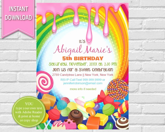 Free Candyland Invitation Template Beautiful Candyland Birthday Invitation Sweet Shoppe Candyland Party