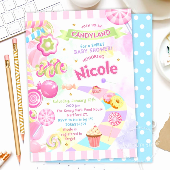 Free Candyland Invitation Template Best Of Candyland Baby Shower Invitation Candy Land Party