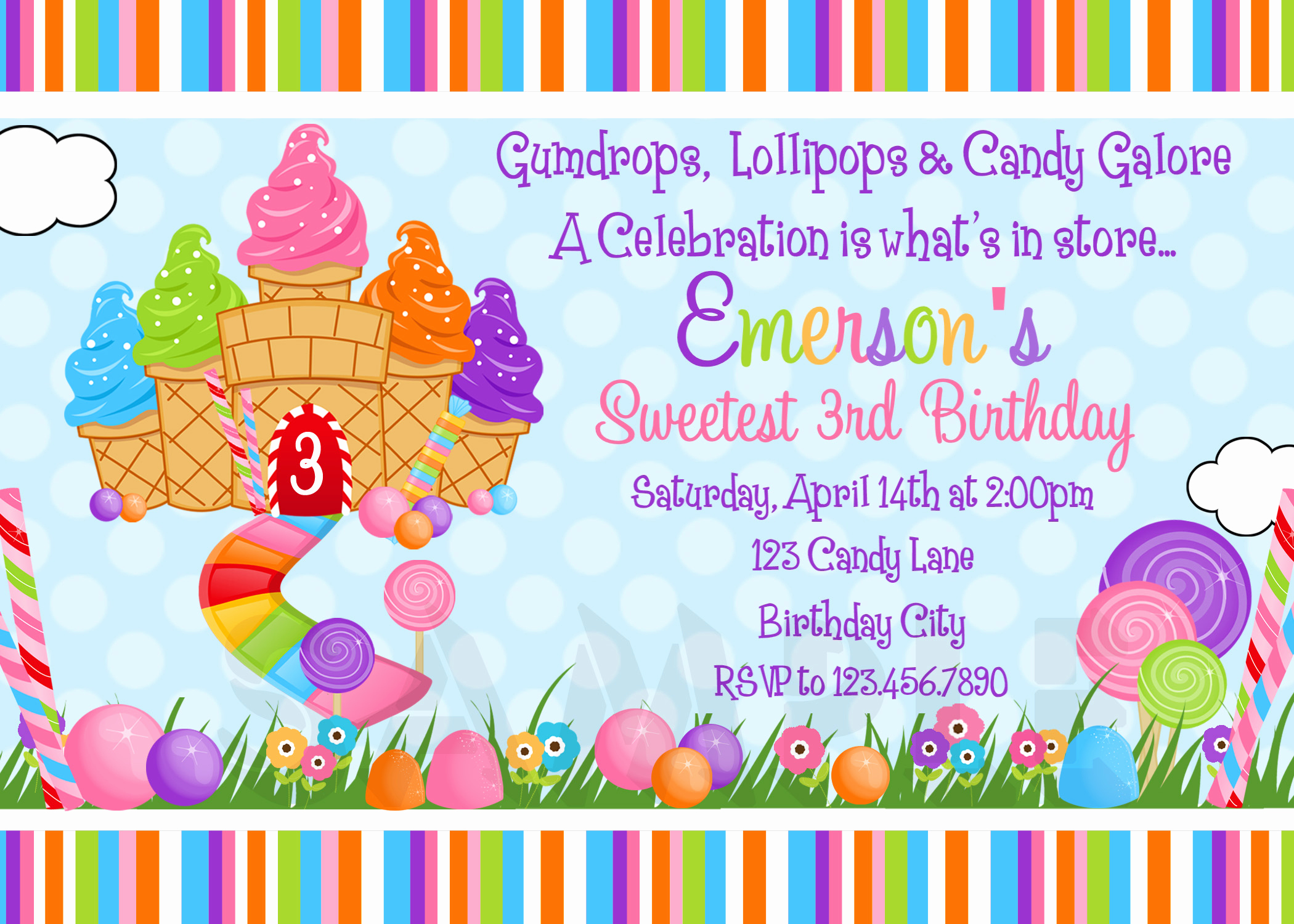 Free Candyland Invitation Template Elegant Printable Birthday Invitations Girls Candyland Party