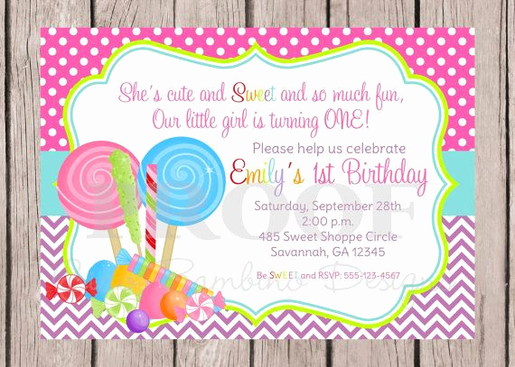 Free Candyland Invitation Template Fresh Lollipop Birthday Party Invitation Sweet Shoppe