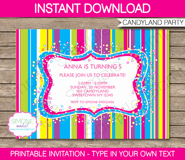 Free Candyland Invitation Template Lovely Candyland Party Invitations Template