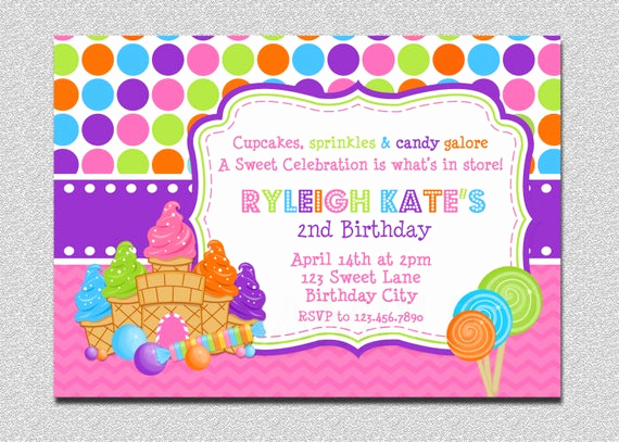 Free Candyland Invitation Template New Candyland Birthday Invitation Sweet Shoppe Candyland Birthday