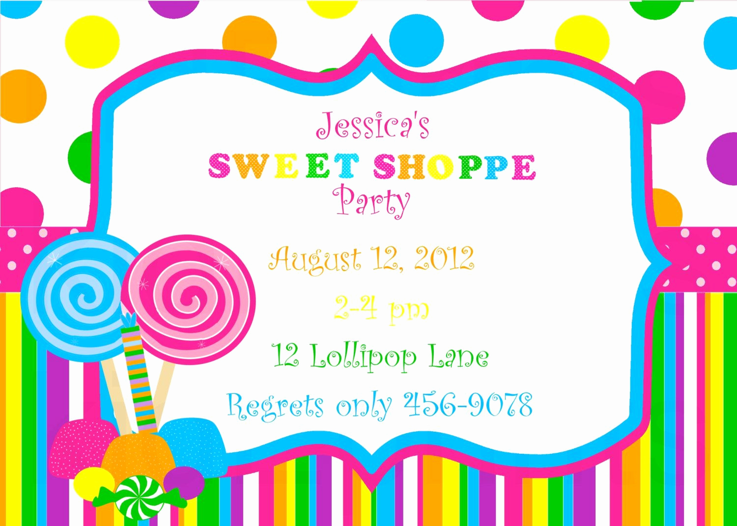 Free Candyland Invitation Template New Special order for Joanne Nola