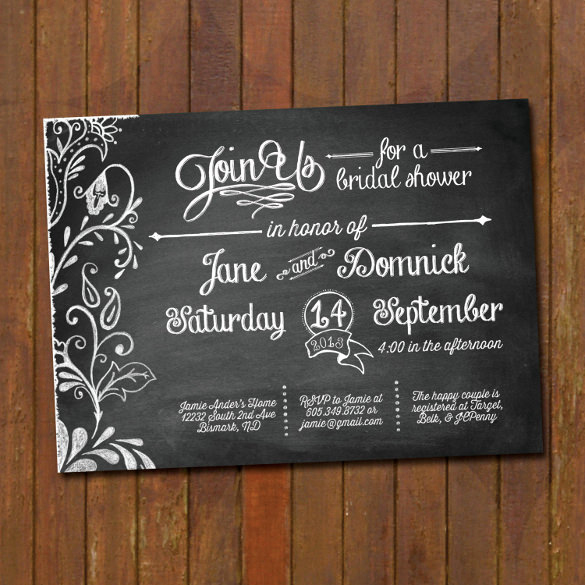 Free Chalkboard Invitation Templates Inspirational 27 Wedding Shower Invitation Templates – Free Sample