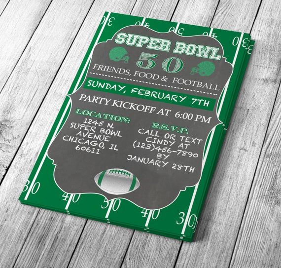 chalkboard super bowl invitation