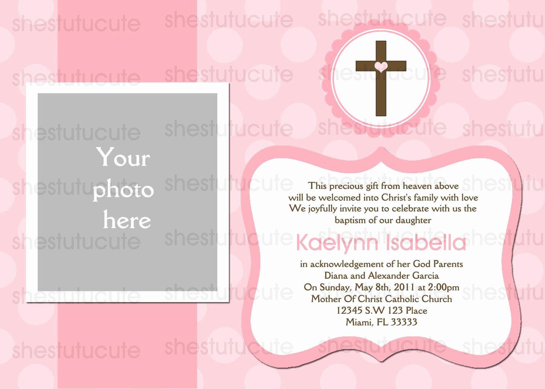 Free Christening Invitation Templates Beautiful Girls Baptism Invitations Digital File by Shestutucutebtq