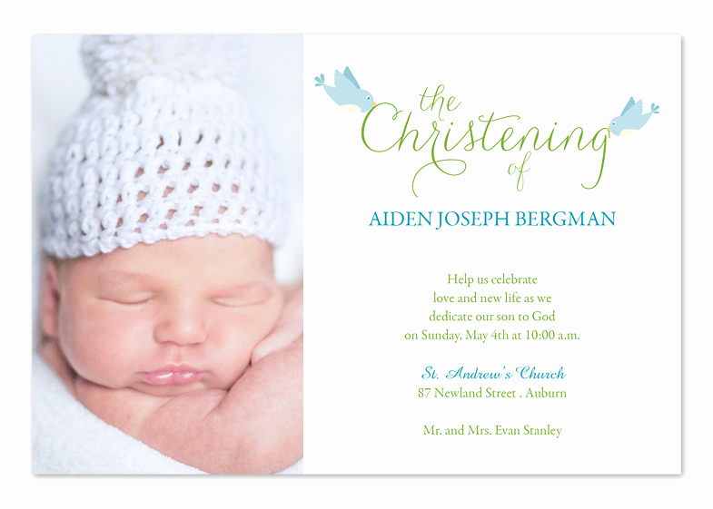 Free Christening Invitation Templates Elegant Christening Birds Baptism Invitations by Invitation