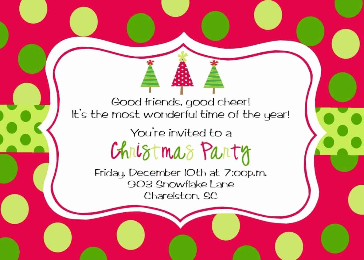 Free Christmas Invitation Templates Fresh Free Printable Christmas Party Invitations Template