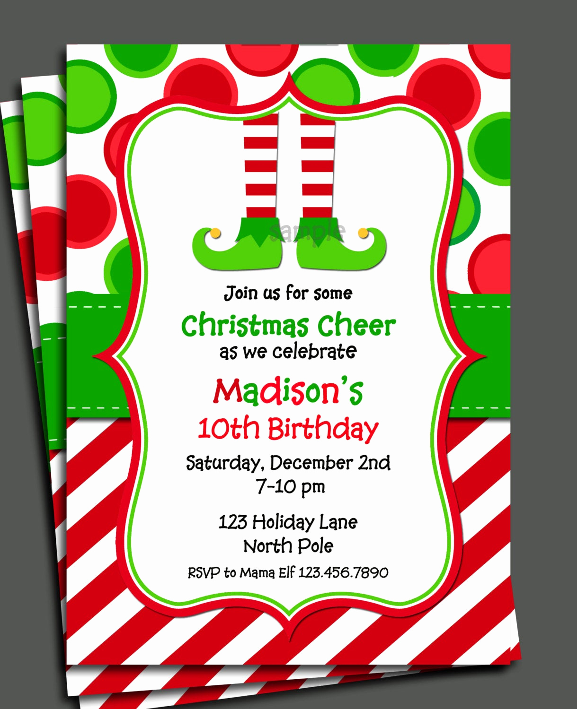 Free Christmas Invitation Templates Luxury Christmas Elf Invitation Printable Christmas Birthday