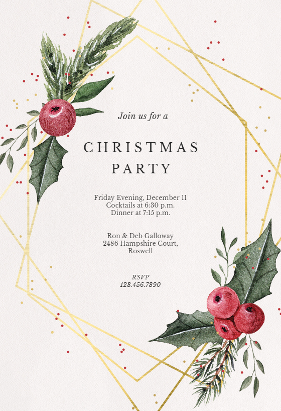 Free Christmas Invitation Templates Luxury Geometric Frame Christmas Invitation Template Free