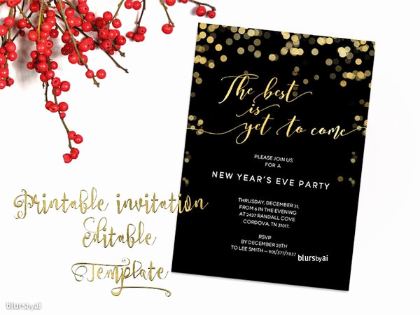 Free Christmas Invitation Templates Word Unique Printable New Year S Eve Party Invitation Template for