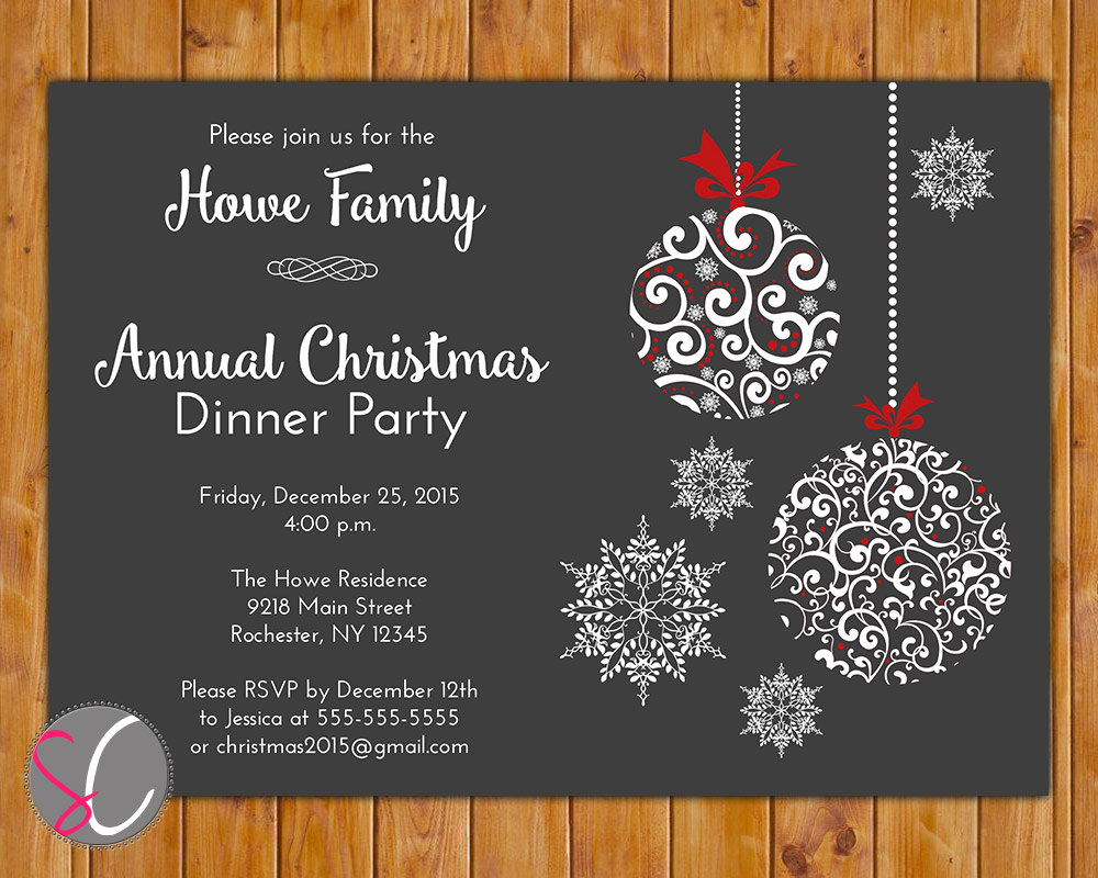 Free Christmas Party Invitation Templates Lovely Annual Christmas Dinner Party Invite Celebration Holiday