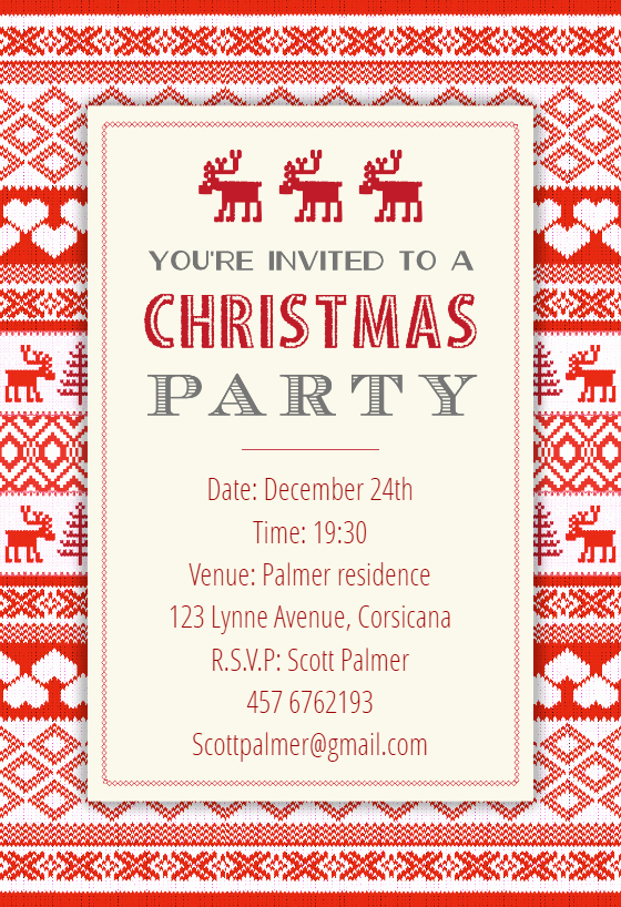 Free Christmas Party Invitation Templates Unique Sweaters Pattern Christmas Invitation Template Free
