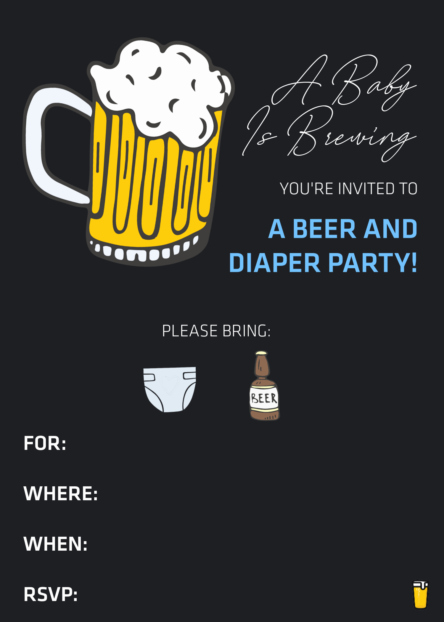 a diaper beer party aka baby shower for the dad