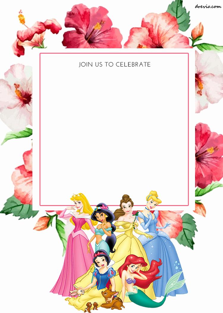 Free Disney Princess Invitation Template Awesome Free Printable Disney Princess Floral Invitation Template