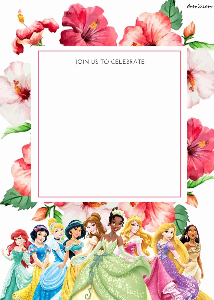 Free Disney Princess Invitation Template Best Of Free Printable Disney Princess Floral Invitation