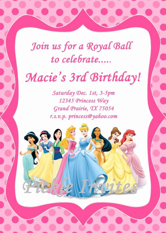 Free Disney Princess Invitation Template Inspirational Items Similar to Cinderella Princess Invitation and Thank