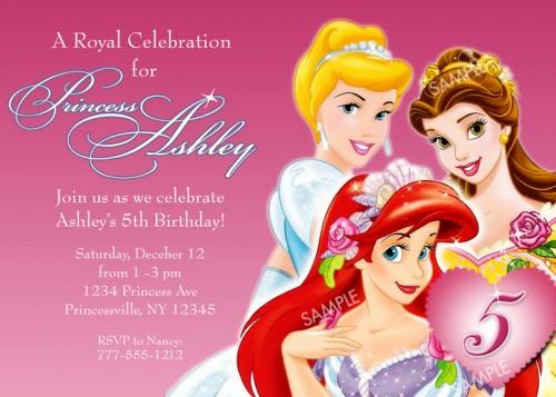 disney princess birthday invitations for girl