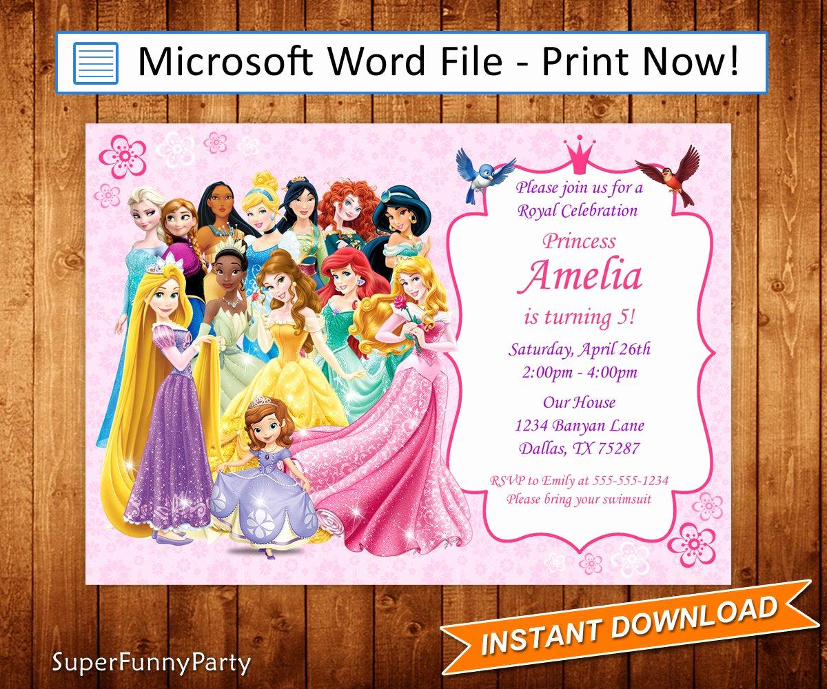 Free Disney Princess Invitation Template New Disney Princess Invitation Disney Princess Birthday Invite