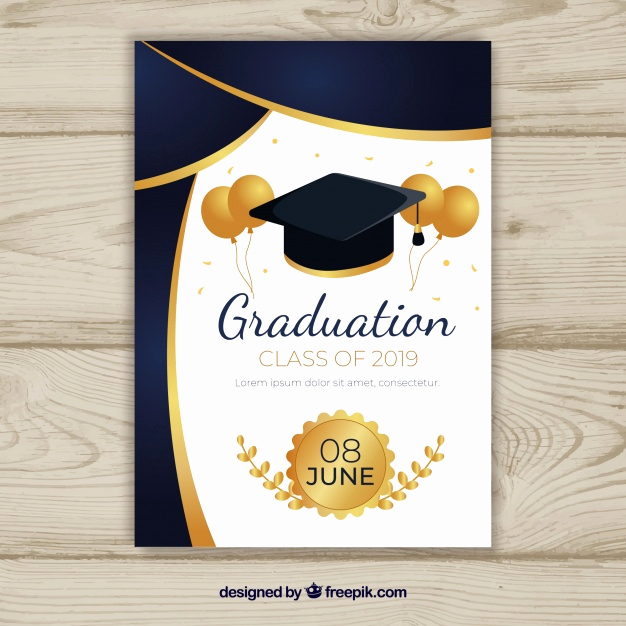 Free Downloadable Graduation Invitation Templates Beautiful Graduation Invitation Template with Flat Design Vector