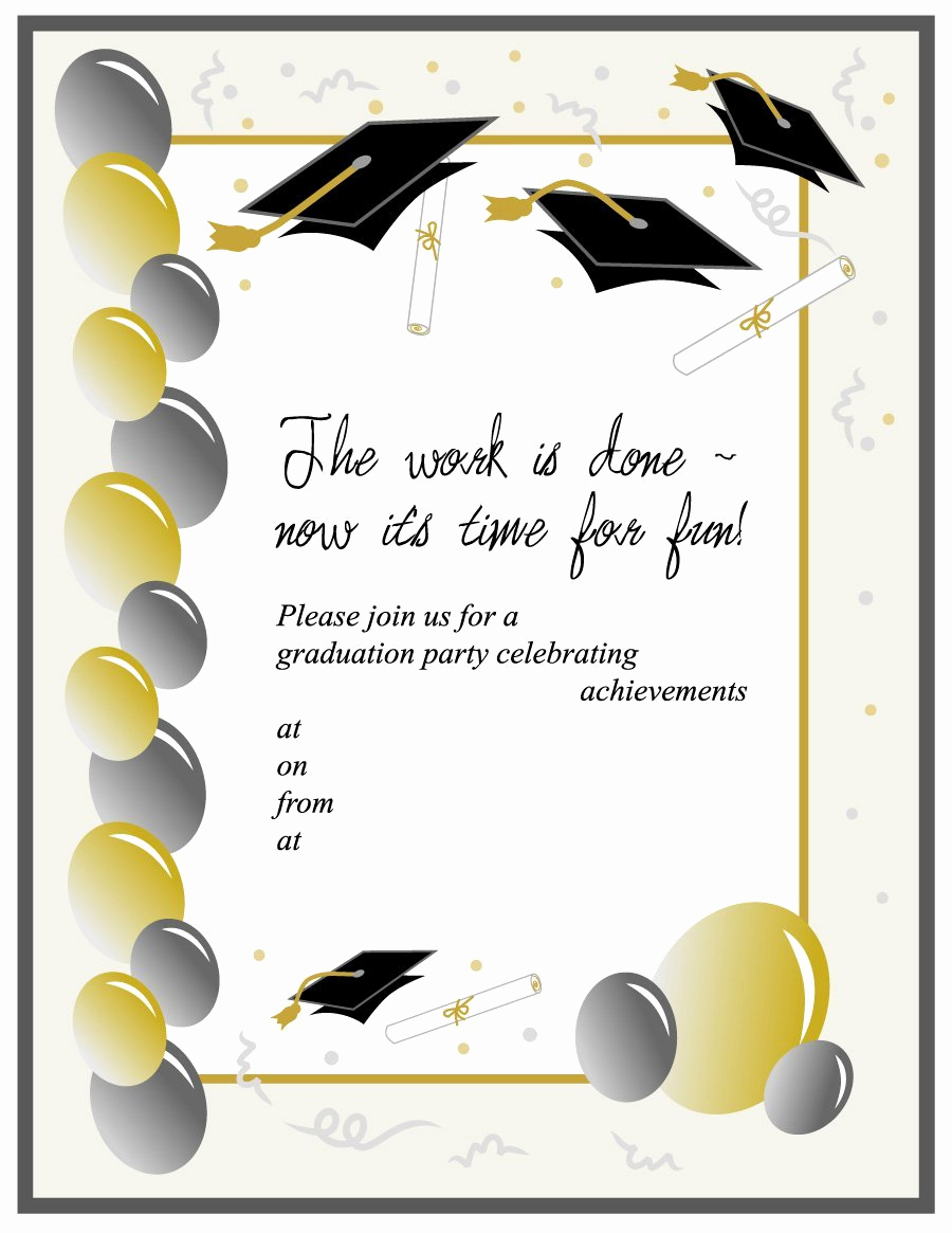 Free Downloadable Graduation Invitation Templates Luxury 40 Free Graduation Invitation Templates Template Lab