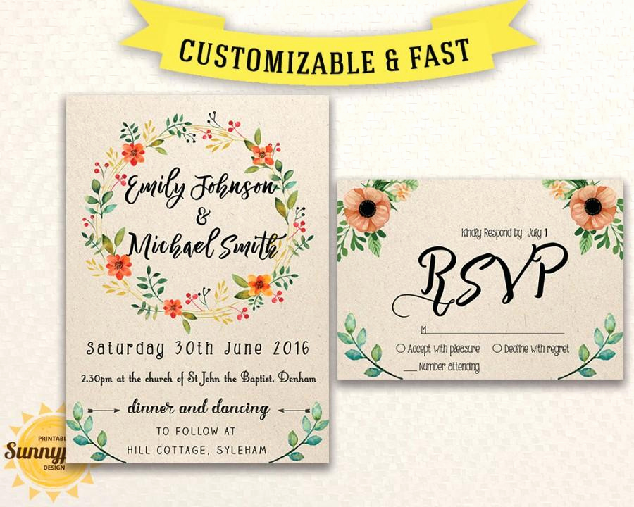 Free Downloadable Wedding Invitation Templates Elegant Rustic Wedding Invitation Templates