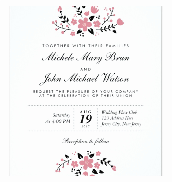 Free Downloadable Wedding Invitation Templates Elegant Wedding Invitation Template 71 Free Printable Word Pdf