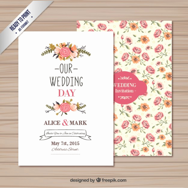 Free Downloadable Wedding Invitation Templates Lovely Wedding Invitation Template Vector