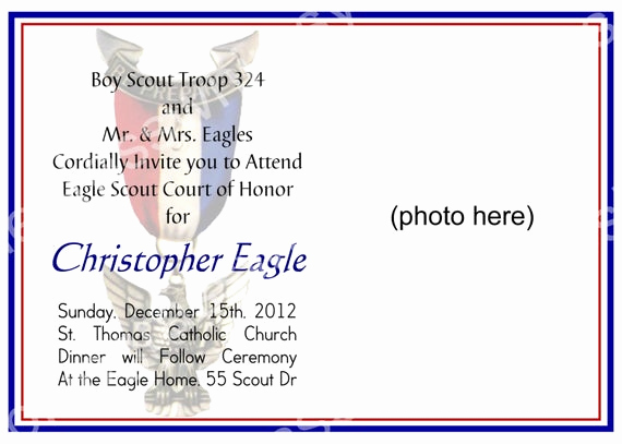 Free Eagle Scout Invitation Template Elegant Eagle Scout Court Of Honor Invitation by Bluegrasswhimsy