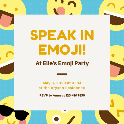Free Emoji Invitation Template Awesome Blue and Yellow Smiley Emoji Party Invitation Templates