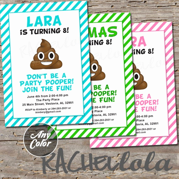 Free Emoji Invitation Template Awesome Poop Emoji Invitation Birthday Party Invite Printable