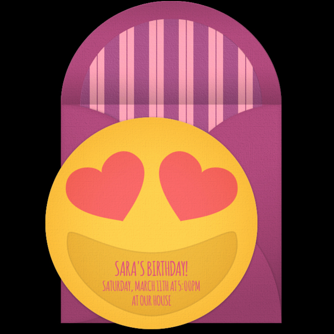 Free Emoji Invitation Template Beautiful Free Heart Eyes Smiley Invitations