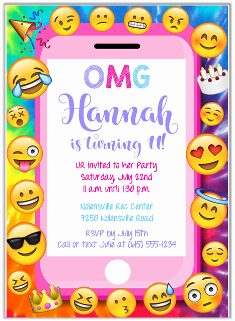Free Emoji Invitation Template Elegant Emoji Party Birthday Invitations