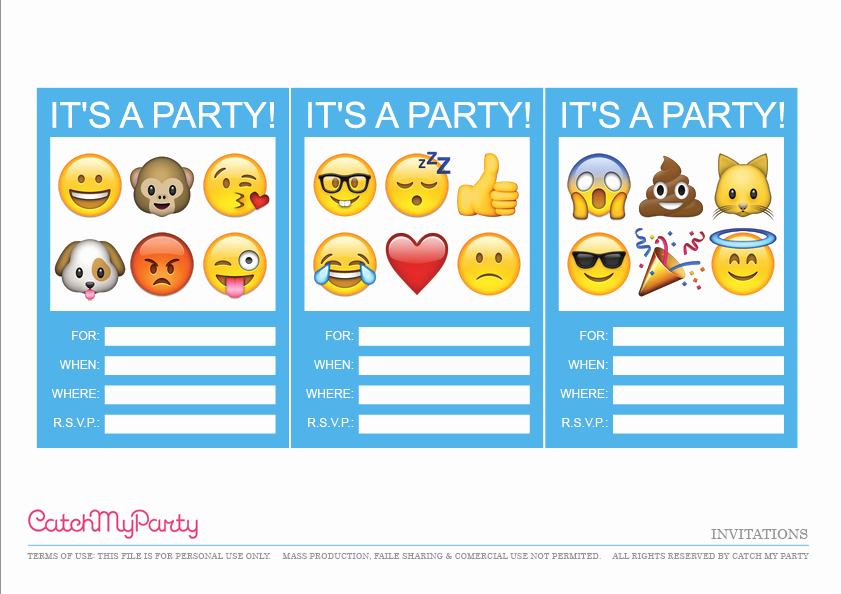 Free Emoji Invitation Template Elegant Free Emoji Party Printables