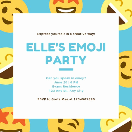 Free Emoji Invitation Template Fresh Customize 2 418 Emoji Party Invitation Templates Online