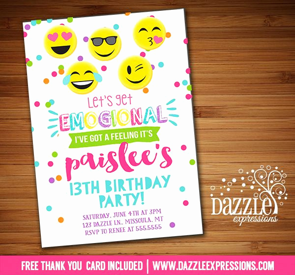 Free Emoji Invitation Template Fresh Printable Tween Emoji Birthday Invitation