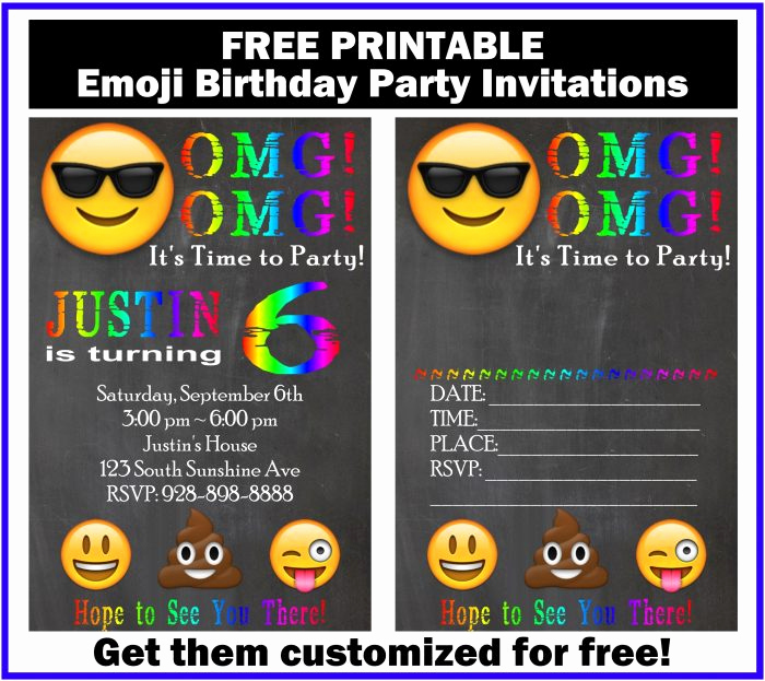 Free Emoji Invitation Template Inspirational Free Customized Emoji Invitations and Birthday Printables