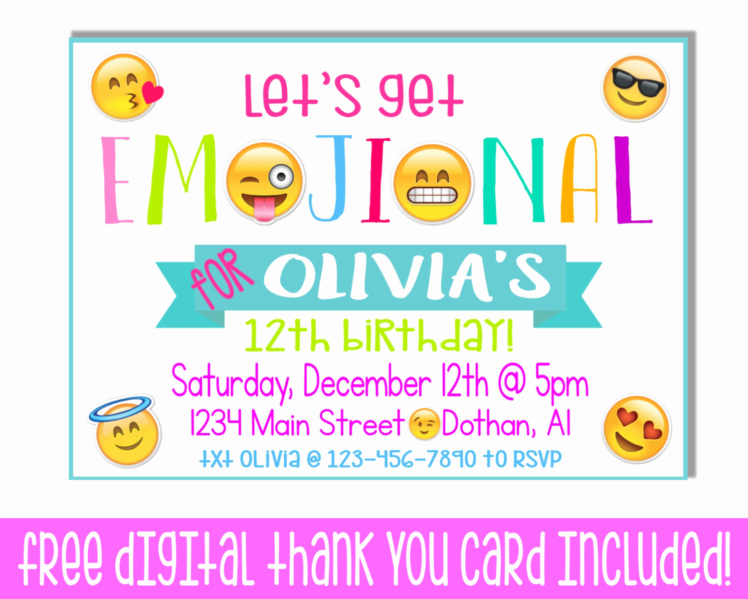 Free Emoji Invitation Template Lovely Tween Party Invitations