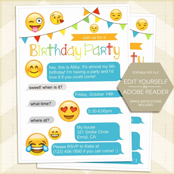 Free Emoji Invitation Template New Pin by Bec Reddick On 8th
