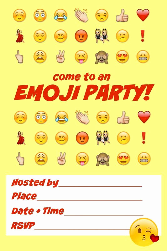 Free Emoji Invitation Template New Ultimate Emoji Party Idea Guide Snacks Crafts