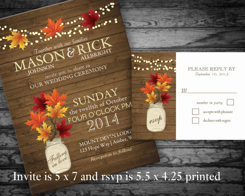 Free Fall Wedding Invitation Templates Elegant Rustic Fall Wedding Invitations Mason Jar by Notedoccasions