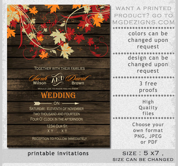 Free Fall Wedding Invitation Templates Fresh 26 Fall Wedding Invitation Templates – Free Sample