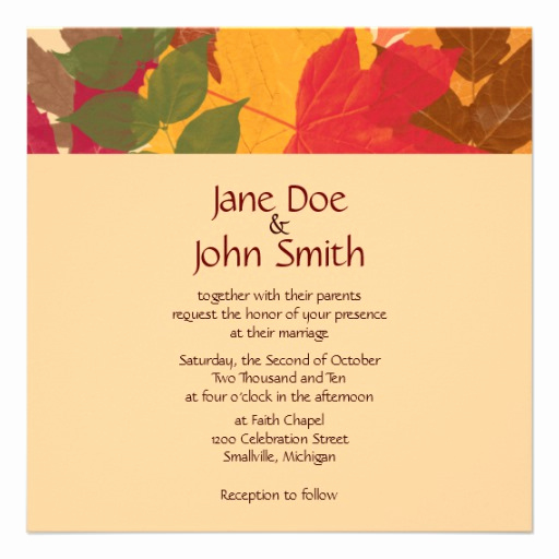 fall wedding invitation template
