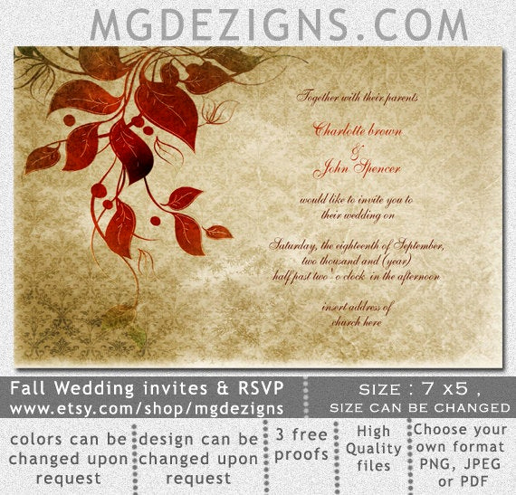 Free Fall Wedding Invitation Templates Fresh Items Similar to Printable Wedding Invitation Template