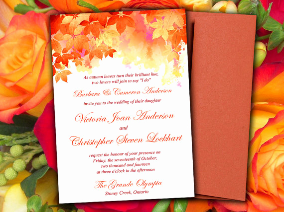 "Free Fall Wedding Invitation Templates Inspirational Diy Wedding Invitation Template ""watercolor Fall"" Red"
