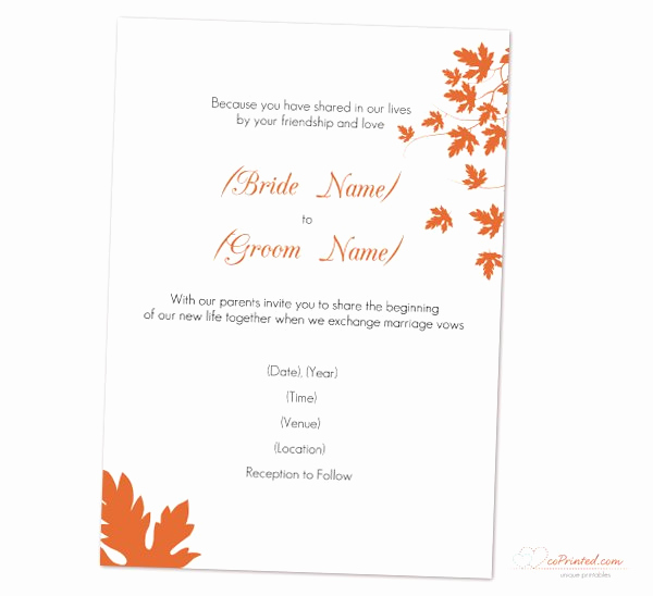 Free Fall Wedding Invitation Templates Inspirational Fall Wedding Invitation Templates