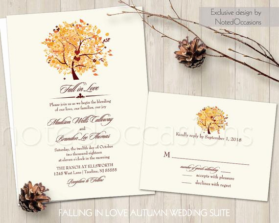 Free Fall Wedding Invitation Templates Inspirational Rustic Fall Wedding Invitation Set Printable Autumn Oak Tree